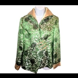 Women's Chinese plus size green& gold XXL jacket